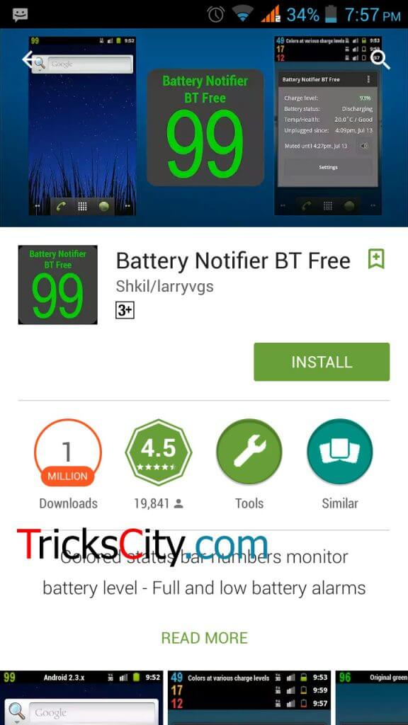 set low battery notification ringtone in android