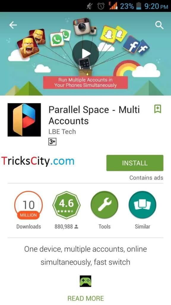 Parallel space app play store