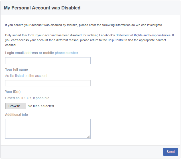 disabled facebook account appeal form